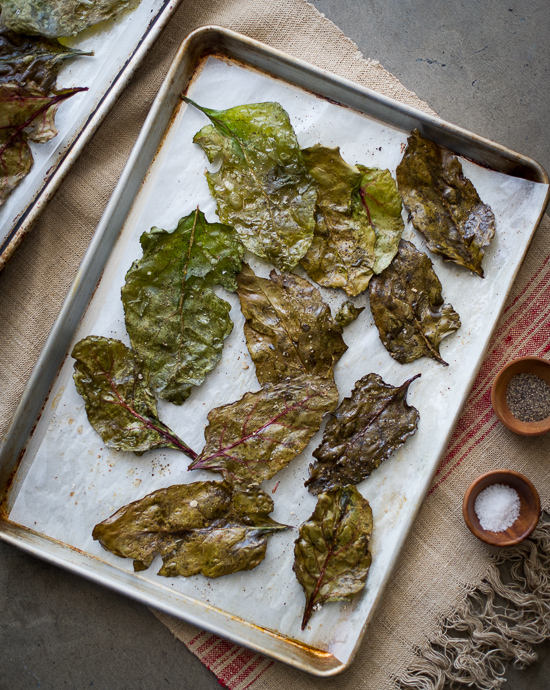 Baked Beet Greens on a baking sheet
