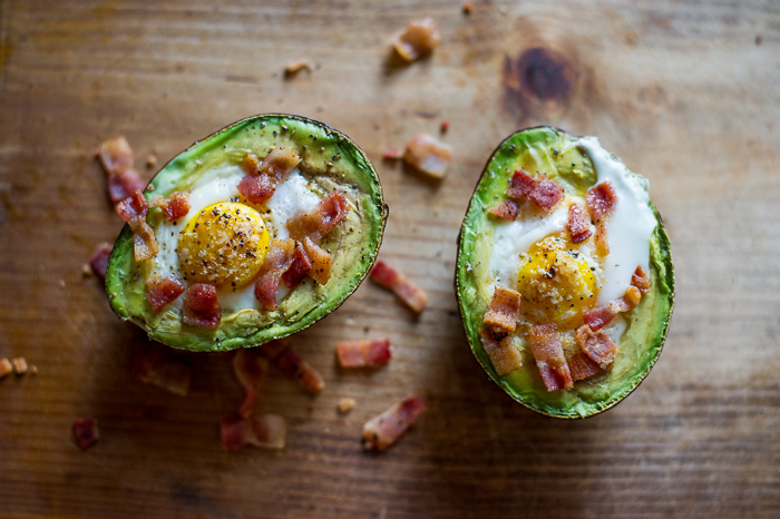 Baked Eggs in Avocado with Bacon on Toast from WhiteOnRiceCouple.com