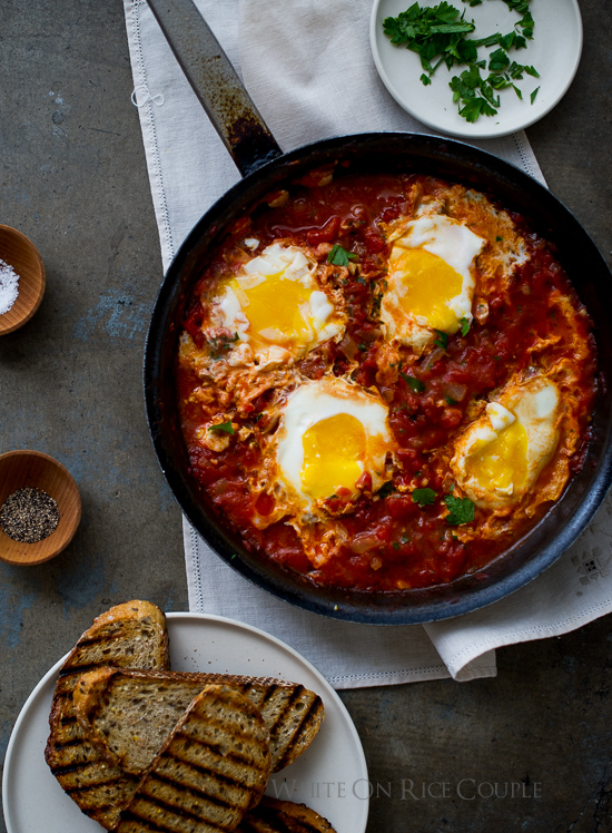 Shakshouka: Poached Eggs in Tomato Sauce on Toast {make this now}