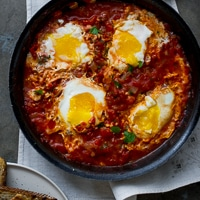 "Thumbnail image for ""Shakshouka"": Poached Eggs in Tomato Sauce, On Toast {make this now}"