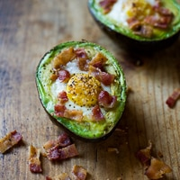 Thumbnail image for Baked Eggs in Avocado with Bacon on Toast
