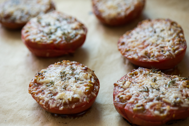 Baked Tomatoes on a baking sheet