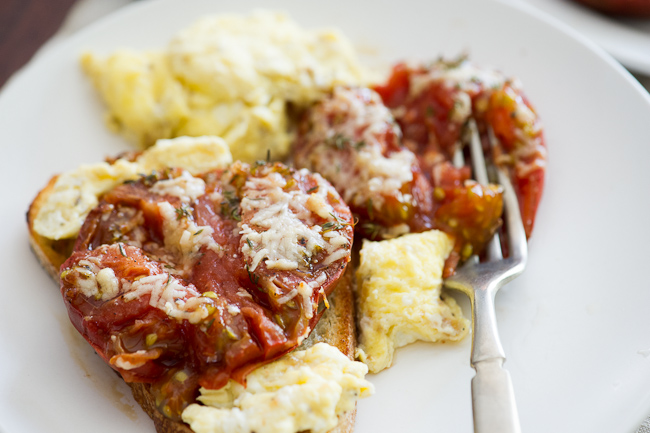 Baked Tomatoes on toast on a plate close up