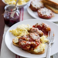 Thumbnail image for Great breakfasts: Baked tomatoes with parmesan cheese, scrambled eggs, toast.
