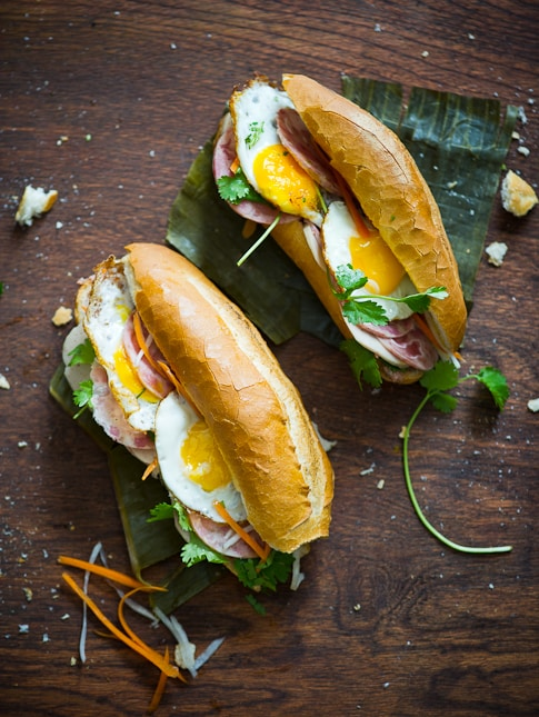 plate of egg and Vietnamese banh mi