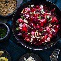 Thumbnail image for Chopped Roasted Beet Salad with Feta and Lemon Zest Vinaigrette