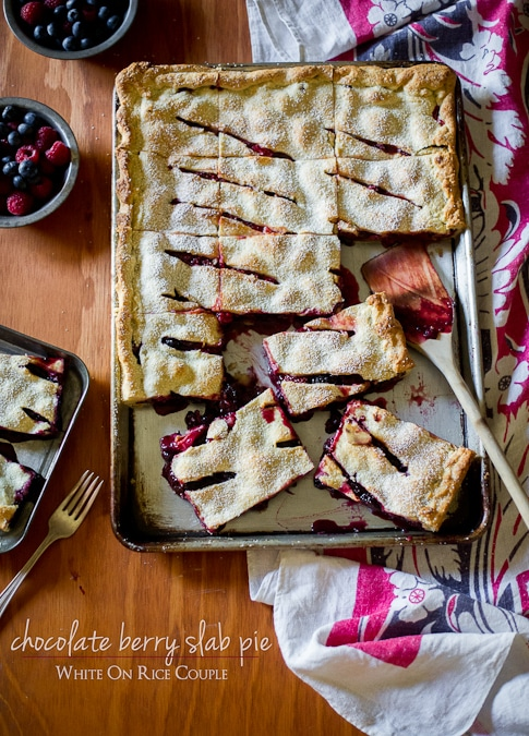 Berry Slab Pie Recipe with Chocolate by WhiteOnRiceCouple.com