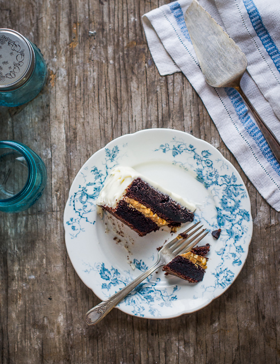 Chocolate Black Magic Cake with Cream Cheese Frosting on a plate