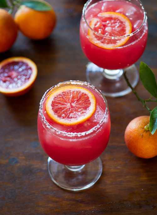 Refreshing and colorful Blood Orange Margarita Recipe on WhiteOnRiceCouple.com