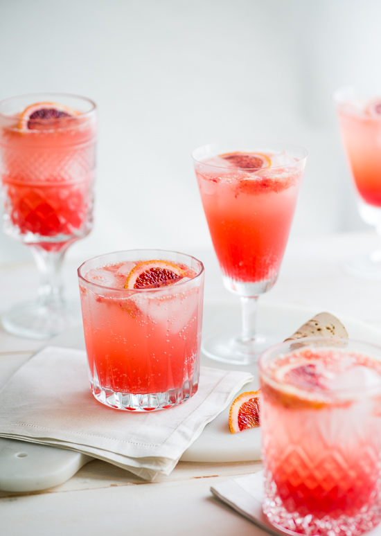 Refreshing Blood Orange Gin and Tonic in glasses