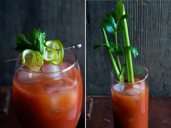 Different garnishes for sriracha bloody mary recipe