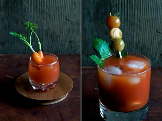 different garnishes for sriracha bloody mary