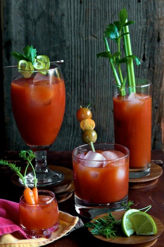 4 glasses of Sriracha Bloody Mary Recipe