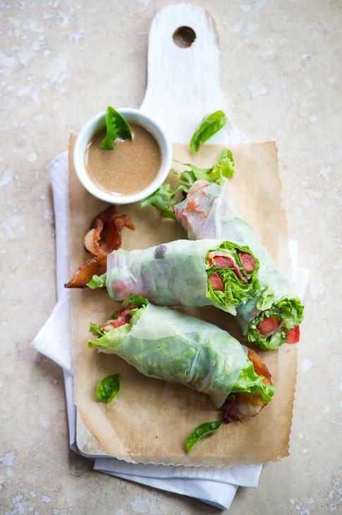 BLT Spring Rolls Bacon Lettuce Tomato| Fresh Vietnamese Spring Rolls @whiteonrice