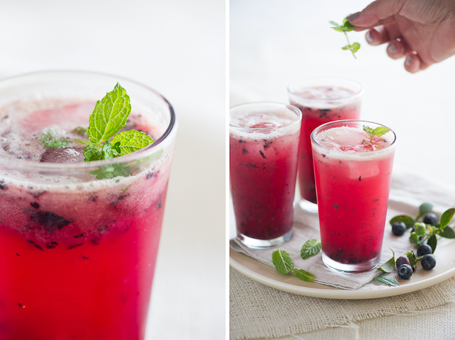 Blueberry and Meyer Lemon Fizz Drink | @whiteonrice