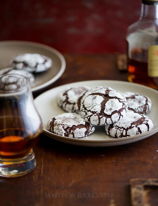 Bourbon Dark Chocolate Crack Cookies on a plate