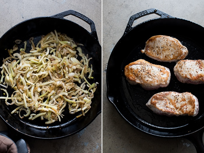 Fennel and Shallot Braised Pork Chops with mike's chilled cherry lemonade | @whiteonrice