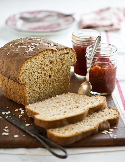 Wheat Sandwich Bread Recipe on cutting board