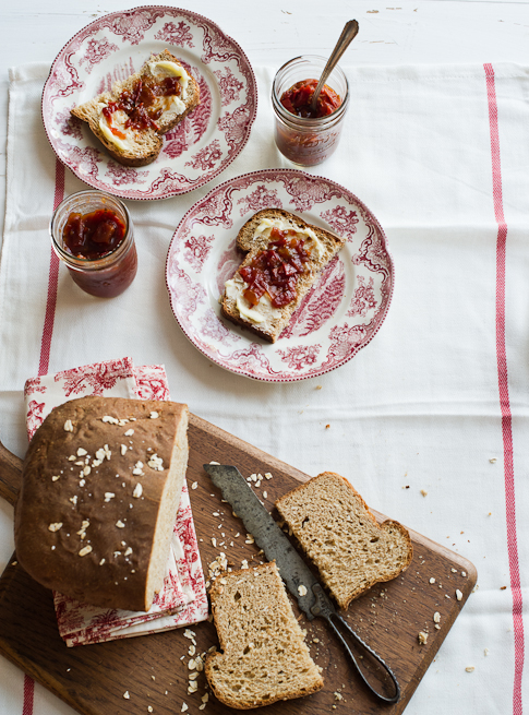 Wheat Sandwich Bread with butter jam