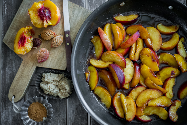 brown butter pancakes recipe with glazed peaches