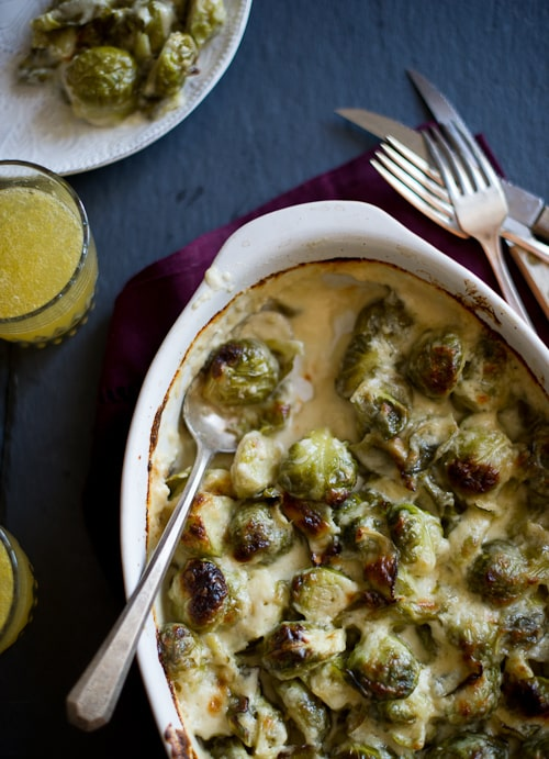 Creamy, cheesy and tender brussels sprouts gratin recipe on @whiteonrice