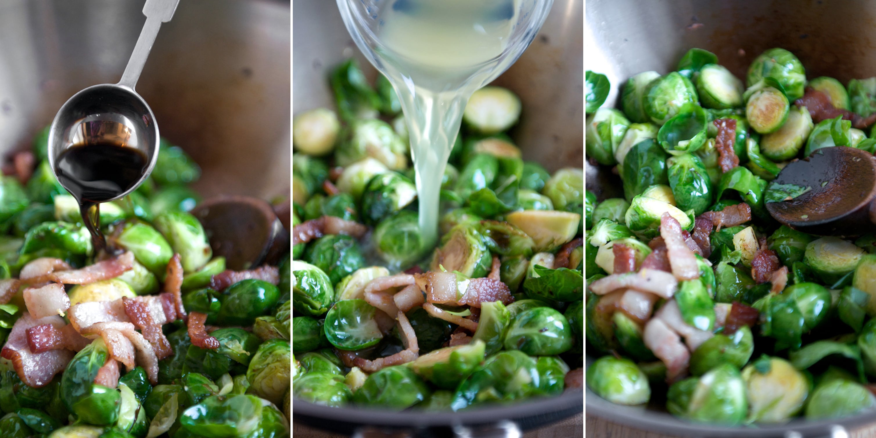 braised brussels sprouts recipe in pan