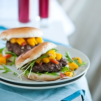 teriyaki burgers with mango salsa