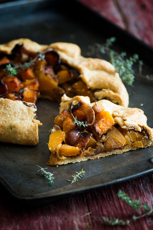 Butternut Squash and Bacon Galette on a baking sheet