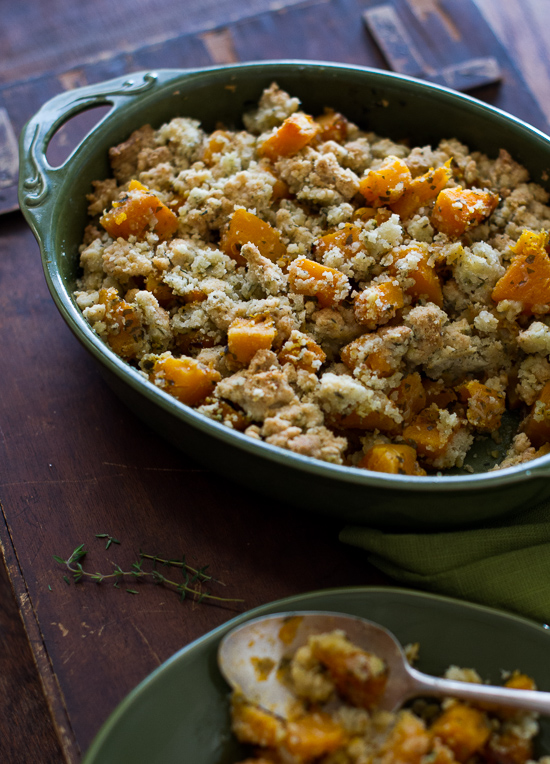 Delicious Butternut Squash Crumble Casserole in a baking dish