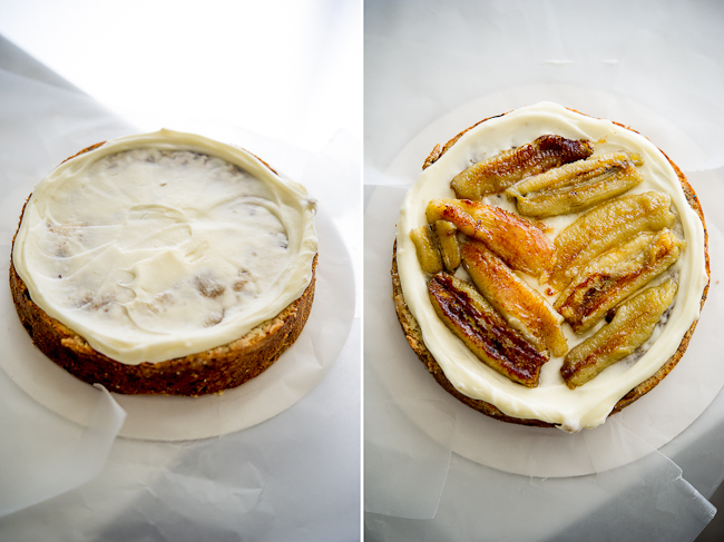 process of frosting and filling the banana cake