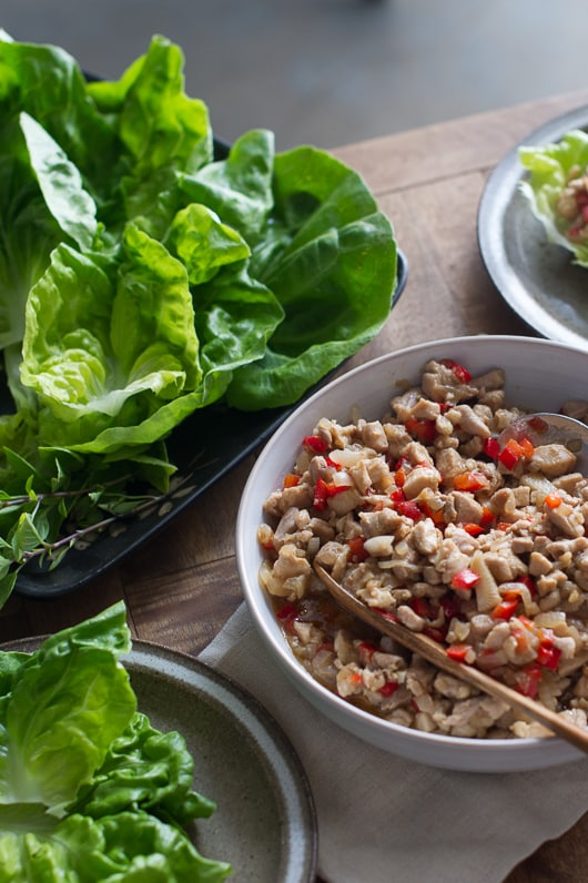 Healthy Almond-Basil Chicken Lettuce Cups Recipe | @whiteonrice
