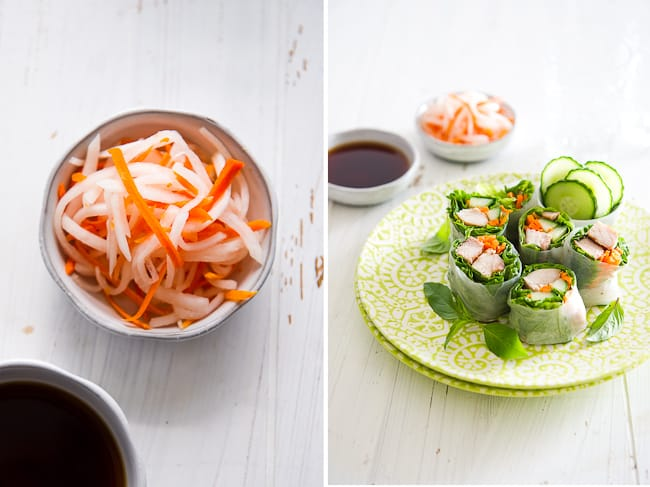 Healthy Garlic Chicken Spring Rolls Recipe from @whiteonrice on whiteonricecouple.com
