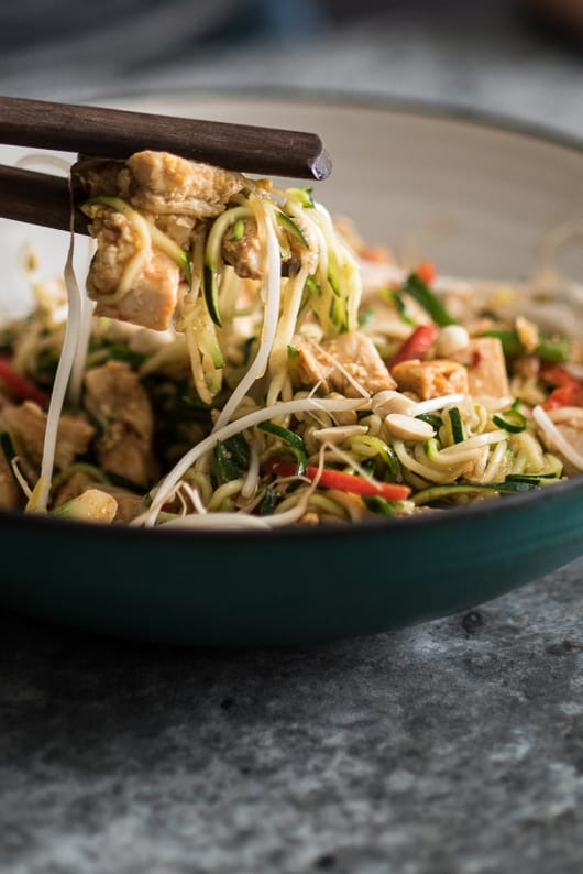 Healthy Chicken Zucchini Noodle Pad Thai Recipe | @whiteonrice