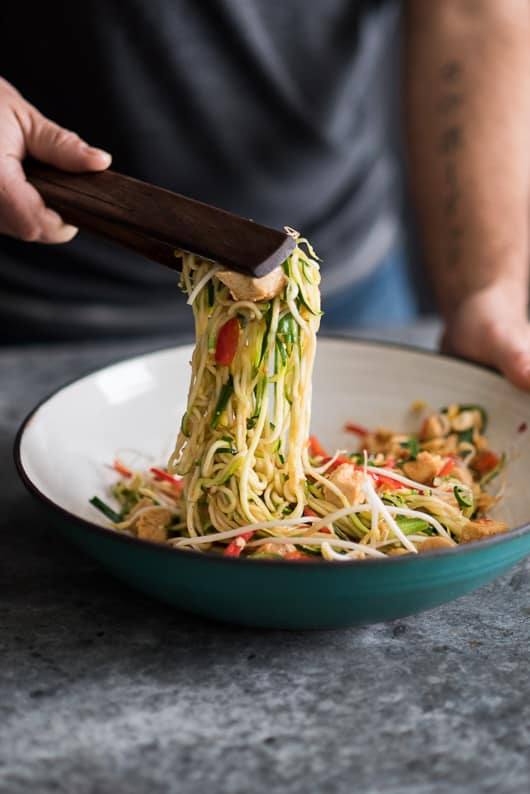 Low Carb Chicken Zucchini Noodle Pad Thai