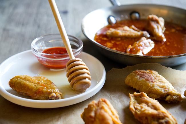 Crispy Honey-Sriracha Glazed Buffalo Wings