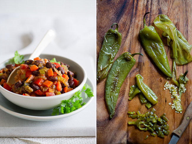 roasted chiles and bowl of chili