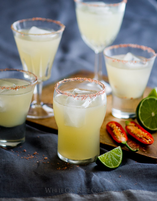 Chili Margarita Cocktail with Paprika Salt in glass cups