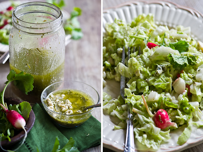 dressing with chopped salad