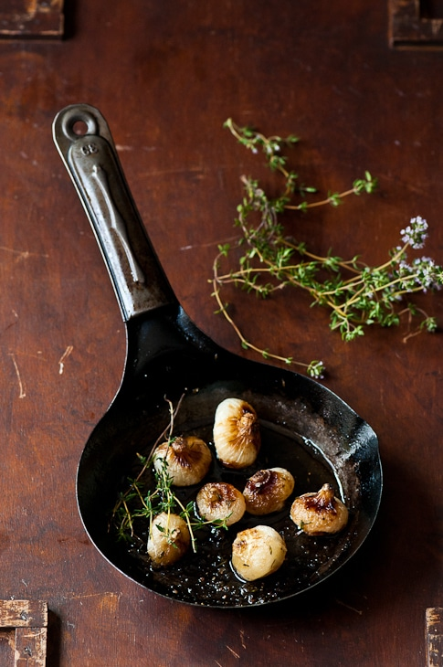 Roasted Cipollini Onions in pan