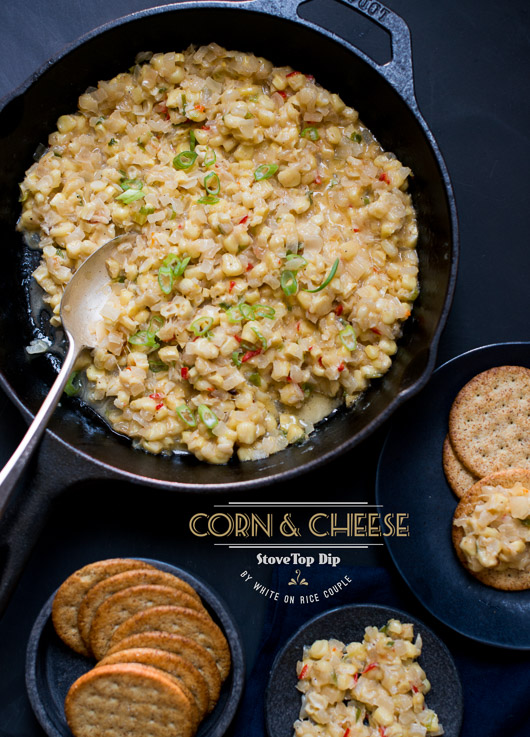 Corn and Cheese Stovetop Dip in a skillet