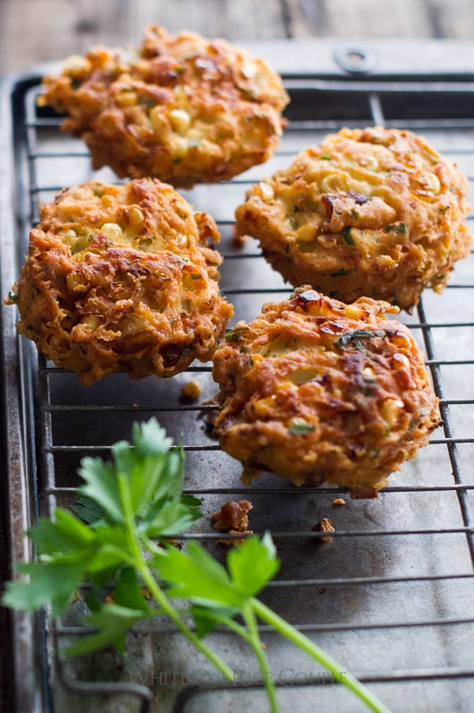 Sweet Corn Fritters on a cooling rack close up