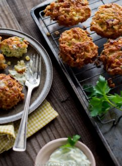 Sweet Corn Fritters Recipe from @whiteonrice