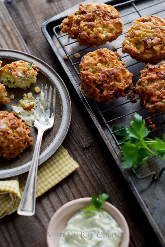 Sweet Corn Fritters on a cooling rack