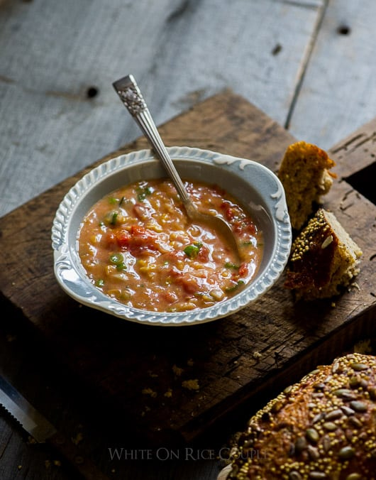 Quick, Easy Creamed Corn and Tomato Soup in a bowl
