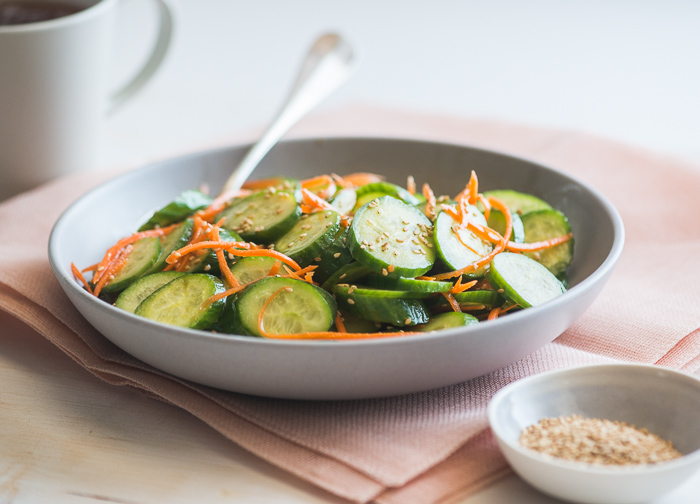 Low Carb & Healthy Sesame Cucumber Salad Recipe on WhiteOnRiceCouple.com