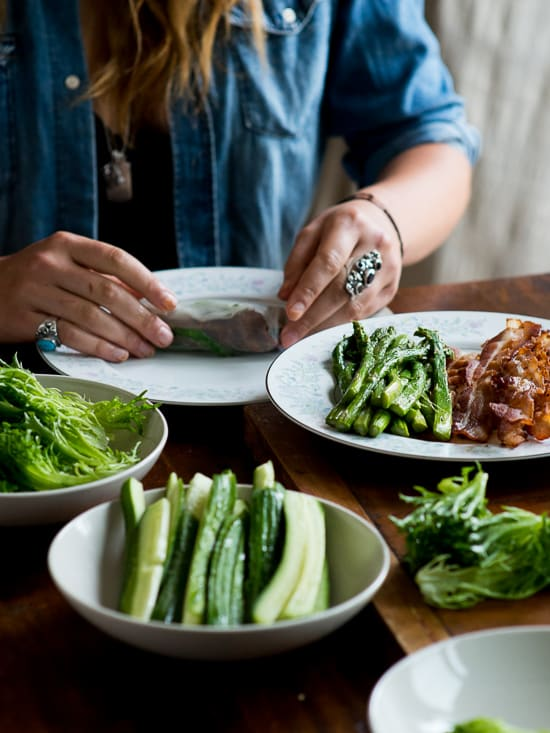 Fresh Spring Roll or Summer Rolls with Asparagus and Bacon | @whiteonrice
