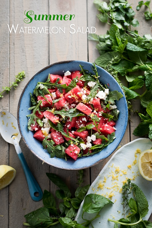 Arugula Watermelon Feta Salad with Your Favorite Fresh Herbs
