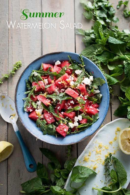 Watermelon Salad Recipe with Arugula, Feta, Mint or Fresh Herbs in a bowl