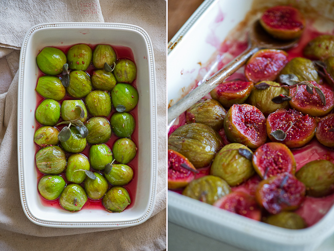Roasted Figs Recipe with Red Wine in dish