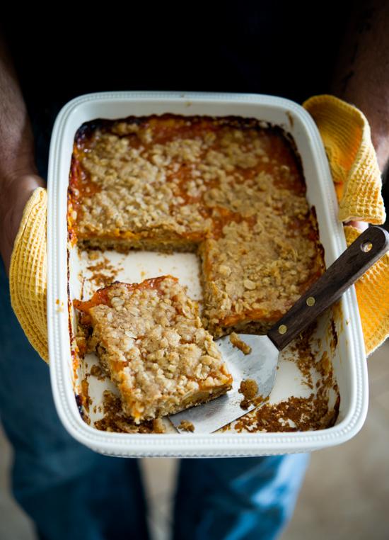 Fresh Apricot Bars Recipe in a ceramic baking dish
